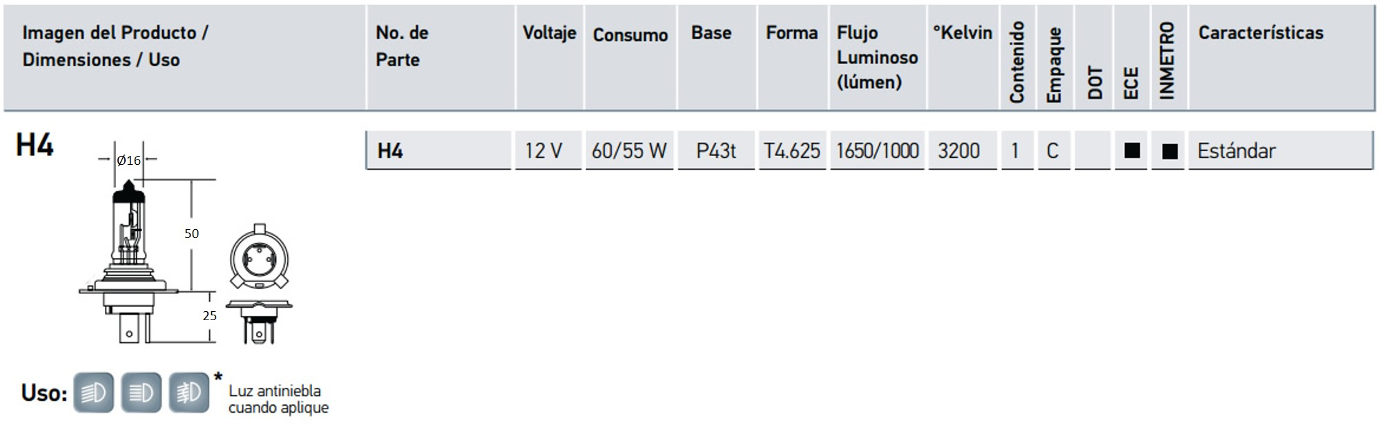 h4 12v ficha tecnica autodata sac