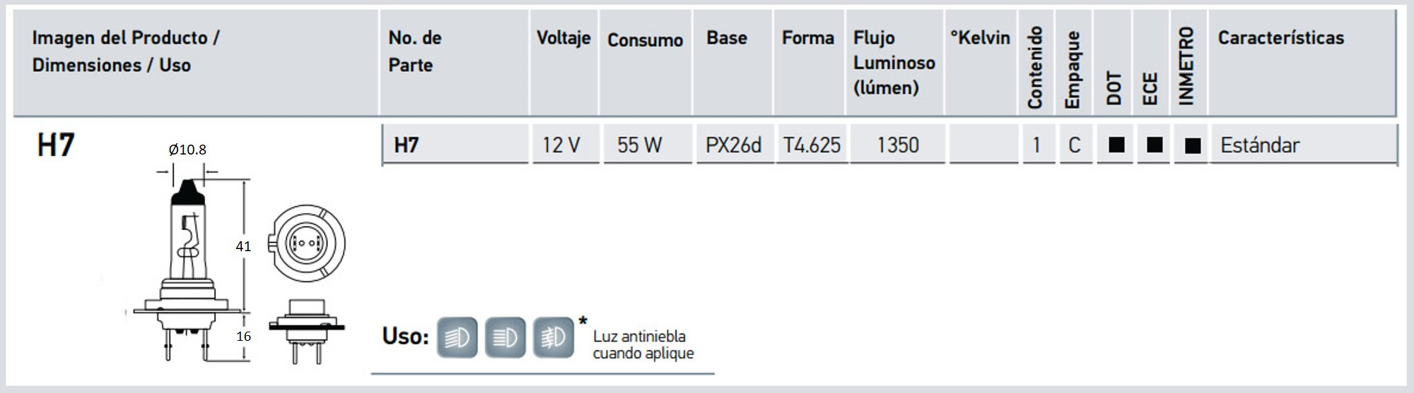 h7 12v ficha tecnica autodata sac